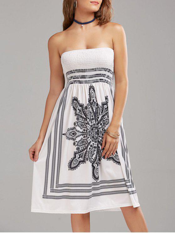 فستان بوهيمي طباعة قبلية بلا الشريط - أبيض S