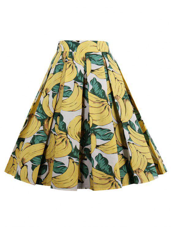 تنورة مطوي عالية الخصر طباعة - الأصفر M