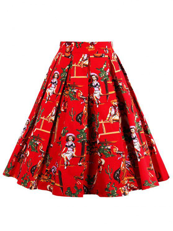 تنورة مطوي عالية الخصر طباعة - أحمر M