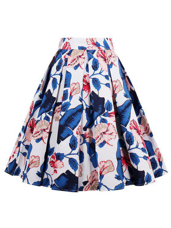 تنورة مطوي عالية الخصر طباعة - أزرق XL