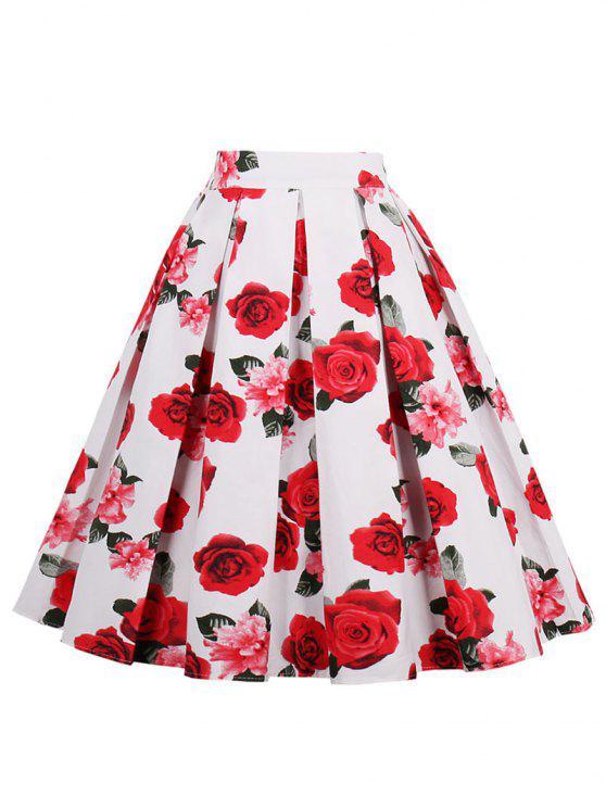 تنورة توهج عالية الخصر - أحمر 2XL