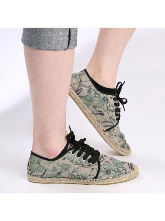 قماش التعادل التعادل حتى أحذية قماش - أخضر 40