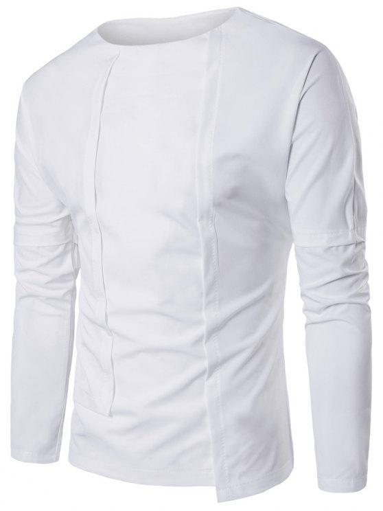 8568bdb8626d35 30% OFF  2019 Asymmetric Panel Design Long Sleeve T-shirt In WHITE ...