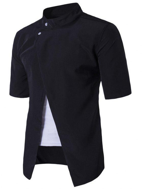 شيرت وقوف الرقبة قصيرة الأكمام - أسود XL