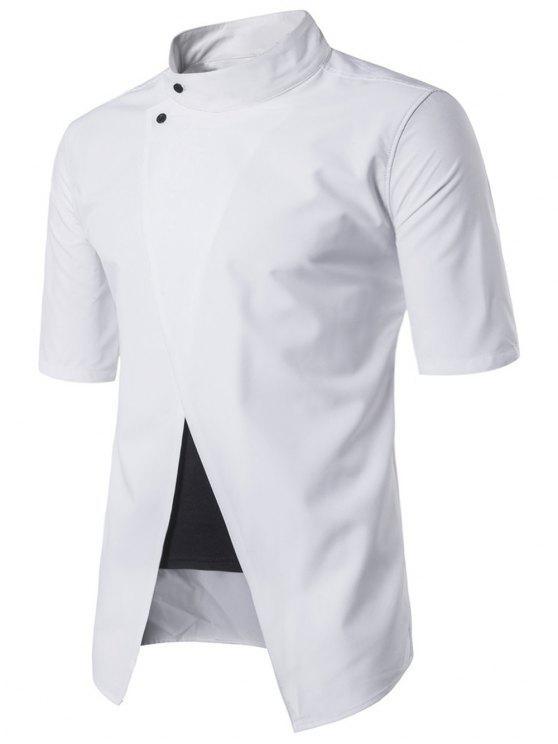 شيرت وقوف الرقبة قصيرة الأكمام - أبيض 2XL
