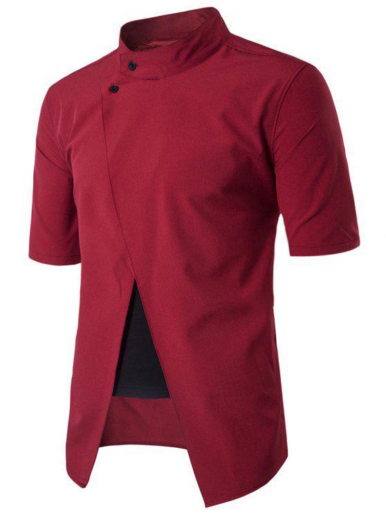 شيرت وقوف الرقبة قصيرة الأكمام - أحمر 2XL