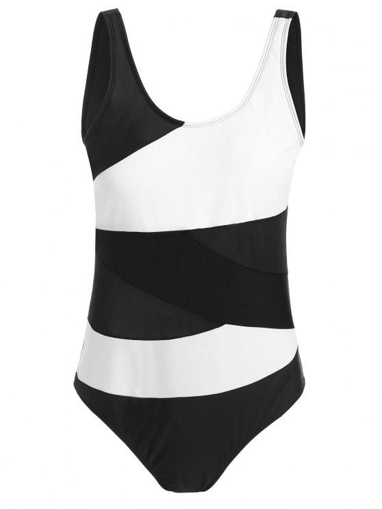 bdc05dfb9d3 25% OFF  2019 Color Block Padded Plus Size One Piece Swimsuit In ...
