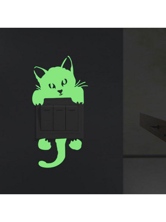 نوكتيلوسنس القط الجدار ملصق لغرفة النوم الديكور - نيون الخضراء 10 * 20CM
