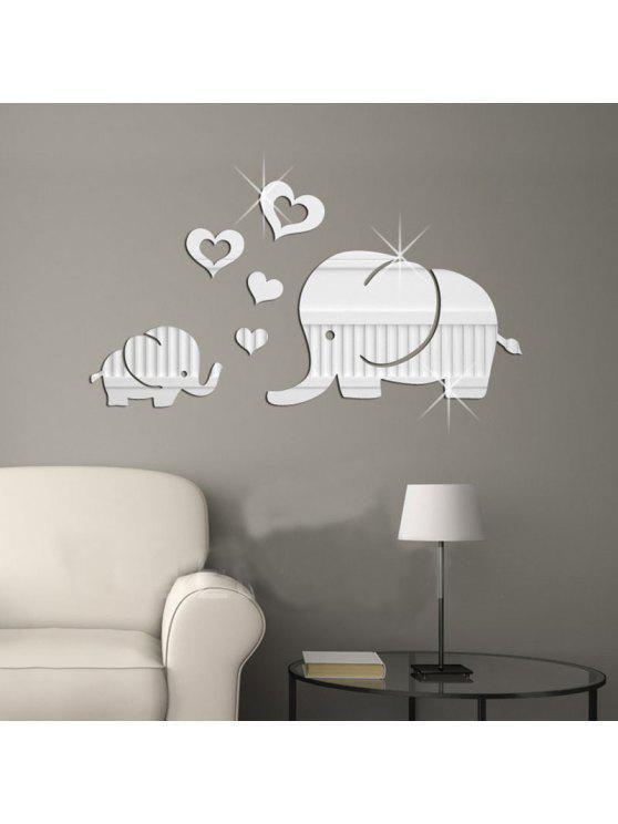 الفيلة القلب دي الاكريليك مرآة الجدار ملصق - فضة