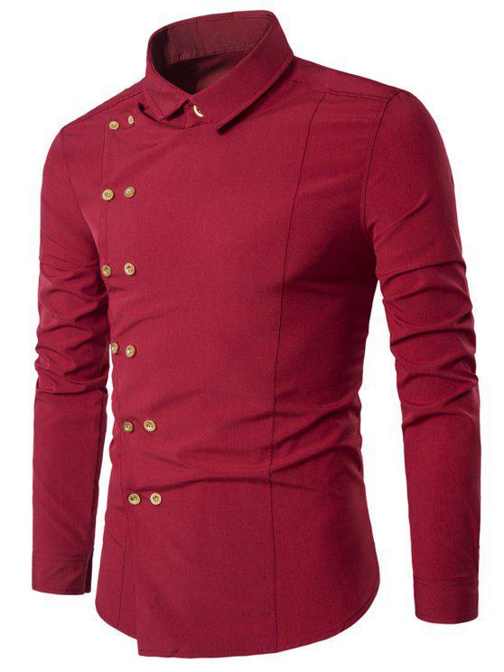 Camiseta doble pecho manga larga con cuello hacia abajo - Rojo 2XL