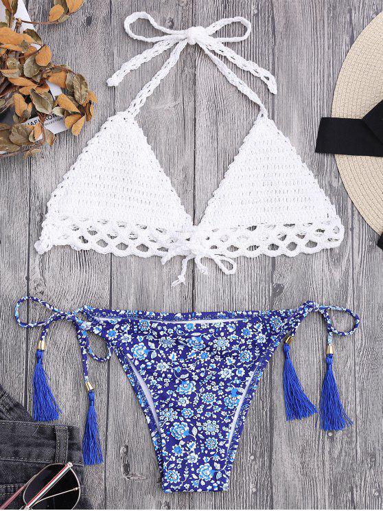 Bikini de Ganchillo con Forro con Estampado de Flor Minúsculo con Cordón - Blanco L
