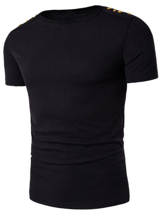 T-shirt avec Col en Bateau et Orné De Bouttons - Noir 2XL