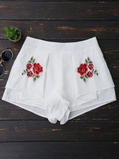 Layered Floral Embroidered Shorts - White M