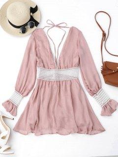 Flare Sleeve Crochet Panel Mini Dress - Pink S