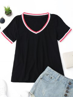 V Neck Stripes Panel Top - Black S