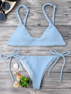 Textured Tie Side String Scoop Bikini Set - Light Blue L