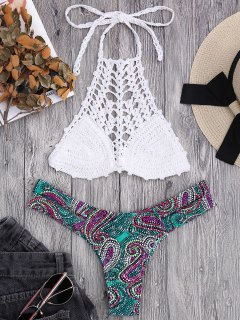 Bralette Crochet Top And Paisley Bandage Bikini Bottoms - White L