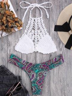 Bikini à Soutient-gorge En Crochet Et Slip Imprimé De Motif Paisley  - Blanc S