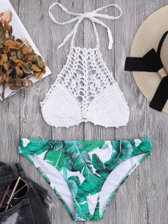 Top Brassière En Crochet Et Bas De Bikini Imprimé De Palmier  - Blanc L