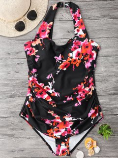 Ruched Plus Size Floral Swimwear - Black Xl