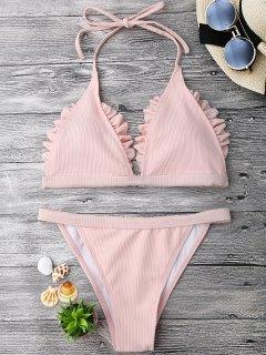 Frilled Ribbed String Bralette Bikini Set - Pink L