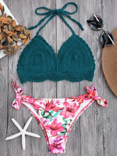 Tied Bralette Floral Crochet Bikini Set - Blackish Green M