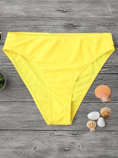 Mid Waisted High Cut Swim Bottoms - Yellow S