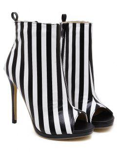 Zipper Striped Peep Toe Ankle Boots - Black Stripe 40