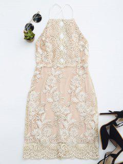 Robe Mini De Plage Avce Broderie Florale - Champagne S