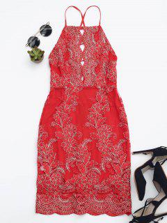 Embroidered Bodycon Mini Beach Dress - Red M
