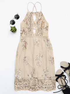 Sequins Apron Neck Beach Dress - Yellowish Pink S