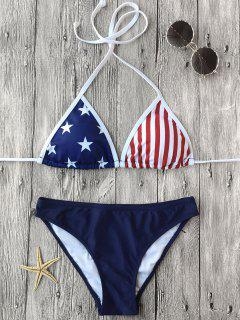 Halter Patriotic American Flag Bikini Set - Purplish Blue L