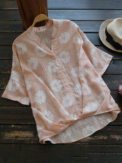 Sun Floral High Low Linen Blouse - Shallow Pink