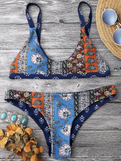 Patchwork Print Bralette Scoop Bikini Set - Blue M