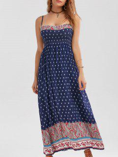 Vestido Estampado Floral Extraíble  Correa Espaqueti  - Azul Purpúreo