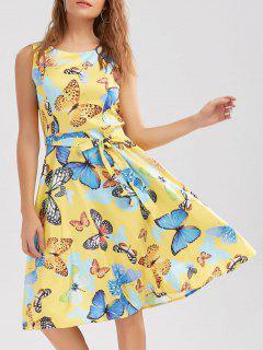 Vestido Sin Mangas Cinturón Estampado Mariposa - Amarillo 2xl