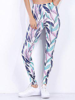 High Waist Tropical Leaf Printed Workout Leggings - White L
