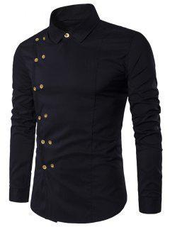 Camiseta Doble Pecho Manga Larga Con Cuello Hacia Abajo - Negro Xl