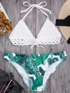Bralette Crochet Top And Leaf Print Bikini Bottoms - White L