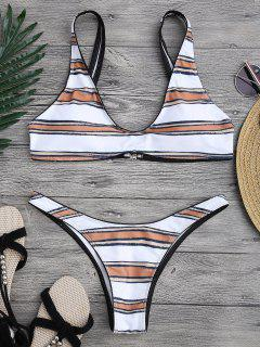 Striped High Cut Scoop Bikini Set - White S