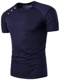 Button Design Stand Collar Raglan Sleeve T-shirt - Cadetblue L