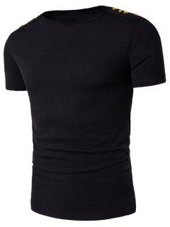 Boat Neck Shoulder Buttons Embellished T-shirt - Black 2xl