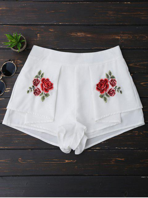 Shorts multicouches brodés floral - Blanc XL Mobile
