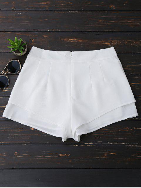 women's Layered Floral Embroidered Shorts - WHITE M Mobile