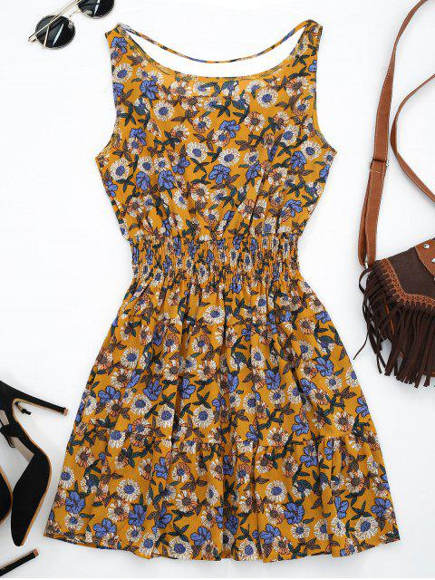 Sonnenkleid mit Vorderseitem Band und Blumenmuster - Ockerfarben L Mobile