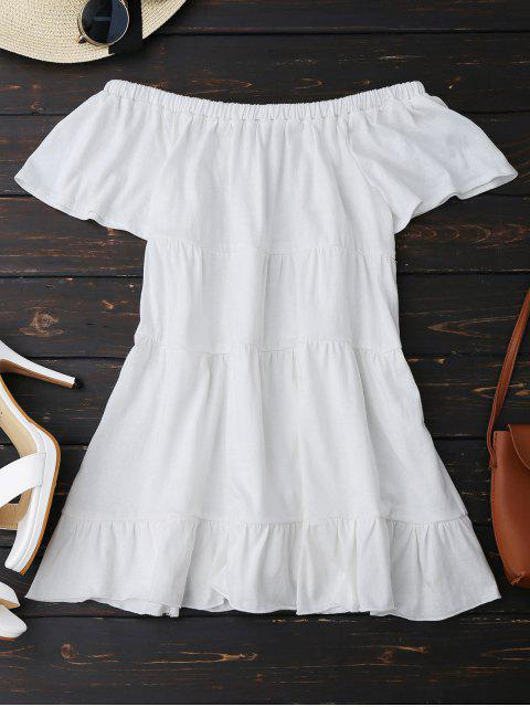 new Loose Ruffles Off Shoulder Top - WHITE S Mobile