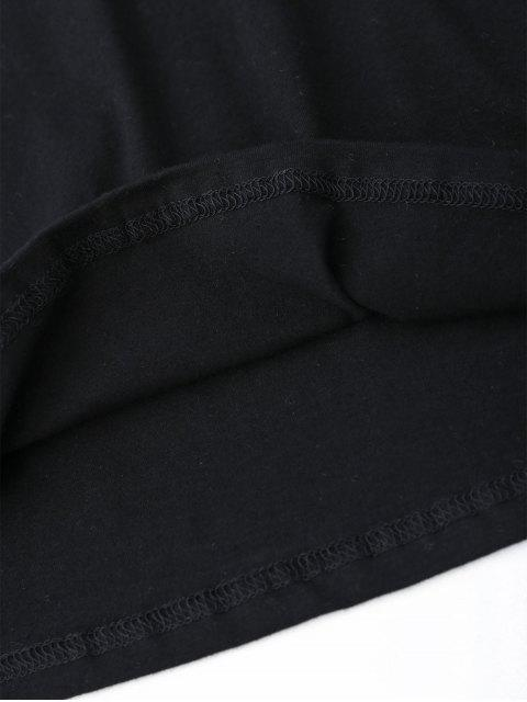 fancy V Neck Stripes Panel Top - BLACK S Mobile