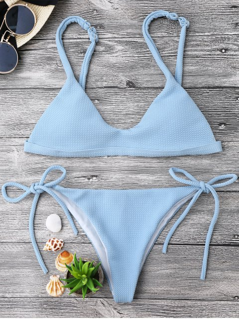 outfits Textured Tie Side String Scoop Bikini Set - LIGHT BLUE S Mobile