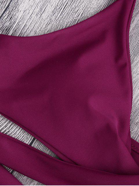 sale Padded Wrap Snakeskin Print Bikini - BURGUNDY S Mobile