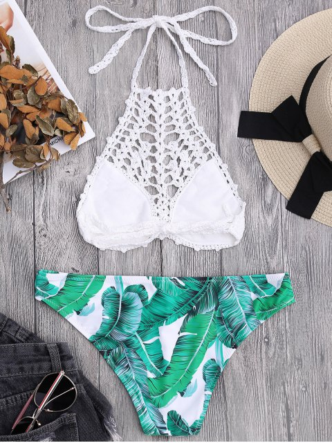 shops Bralette Crochet Top and Palm Tree Bikini Bottoms - WHITE S Mobile